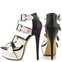 New Women Peep Toe Multi-color Stilettos High heel Cut Out Sandals shoes UK Size