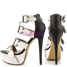 New Women Peep Toe Multi-color Stilettos High heel Cut Out Sandals shoes UK Size