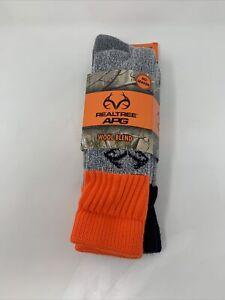 2 pair Mens Size 9-13 Realtree Merino Wool Boot Socks Hunting Safety Orange NEW