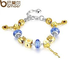 European Gold Plated Glass Bead Charm Bracelet  , Free Gift Box,USA Seller