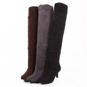 Womens Faux Suede Kitten Heel Stretch Over The Knee Riding Boots Casual Shoes