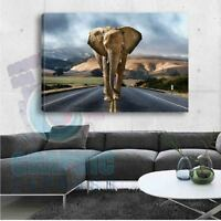 TOILE IMPRIMEE ELEPHANT CALIFORNIA TABLEAU DECO MURAL  - EL13