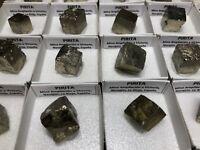Eine 4x4cms Box von PYRIT (Pyrite) aus Navajún (Spanien Mineral) #DEU