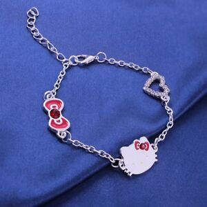 High Quality Stainless Steel Silver & Red Hello Kitty Bracelet