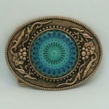OVAL HAND DECORATED COPPER FINISH BELT BUCKLE PATTERNED MANDALA GREEN BLUE