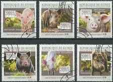 Timbres Animaux Cochons Guinée 5200/5 o année 2010 lot 23120 - cote : 15 €