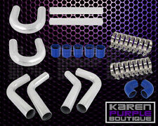 """UNIVERSAL 8PC 2.5"""" ALUMINUM FMIC INTERCOOLER PIPING BLUE SILICONE HOSE+T-CLAMP"""