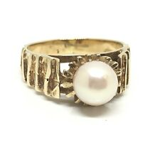 Unique Vintage Cultured Freshwater Pearl 9ct  Gold Ring 1975 Fancy Size K