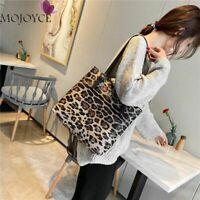 Women's Leopard Handbag Leather Tote Large Capacity Bag Shoulder Messenger Purse