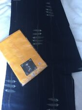 Japanese Cotton Men's Traditional Kimono Navy With Chilli Weave Yellow Band