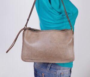 COACH Vintage Medium Taupe Leather Shoulder Hobo Tote Satchel Purse Bag