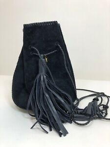 Wendy Nichol Whipstitch Suede Bullet Bag in Navy $1195