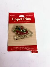 1985 Hallmark holiday Glitter Sleigh Lapel Pin XLP350-5