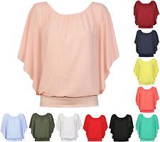 Damen Chiffon Bluse Shirt Tunika Top Flügel Fledermaus Italy Sommer 38 40 42