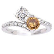 GIA Certified 0.59ct Fancy Color & 0.54ct Round Brilliant Diamond Ring, Platinum
