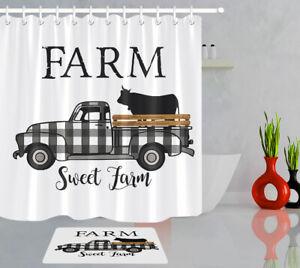 Sweet Farm Gray Checkered Truck Animals Cow Shower Curtain Set Bathroom Decor