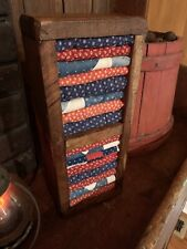 New listing Handmade Americana Cedar Box w/ Red White Blue Scraps From Early Quilts Texti