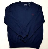 Chaps Mens Long Sleeve Cotton Silk V Neck Pullover Sweater Navy Blue Small