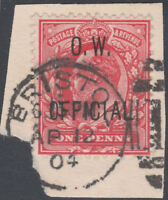 1902 SG O37 1d SCARLET O.W. OFFICIAL VERY FINE USED BRISTOL CDS ON PIECE