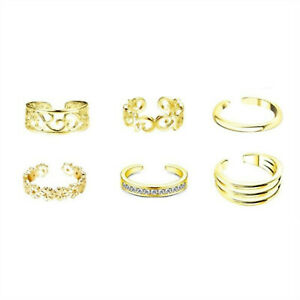 6Pcs/Set Jewelry Silver/Gold/Rose Gold Toe Rings Women Rings Gifts S05