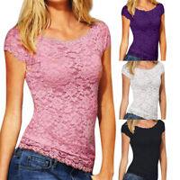Women Summer O-Neck Short Sleeve Slim Lace Croceht Blouse Tops T-shirt