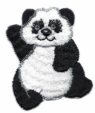 PANDA BEAR WAVING/Animals- Iron On Embroidered Applique Patch/ Cute Critters