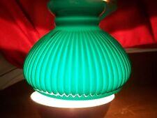 OIL LAMP KEROSENE ~ STUDENT LAMP SHADE ~ GREEN RIBBED ~CASED GLASS FONT~ ALADDIN