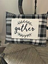 Black and White Buffalo Check  GATHER Pillow