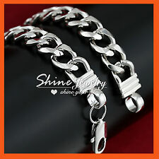 18K White GOLD GF CHUNKY CUBAN CURB CHAIN RING MENS WOMENS SOLID BANGLE BRACELET