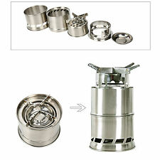 Portable Wood Stove Foldable Camping Backpacking Solidified Alcohol Stove