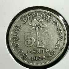 1903 CEYLON SILVER 50 CENTS BETTER COIN
