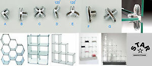 GLASS|ACRYLIC|PLASTIC SHELF CUBE CONNECTOR|JOINER|HOLDER RETAIL SHOP DISPLAY