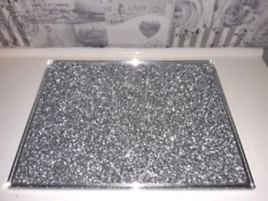 1PCS CRUSHED DIAMOND CHOPPING BOARD SILVER CRYSTAL FILLED PLACEMAT CRUSH SPARKLY