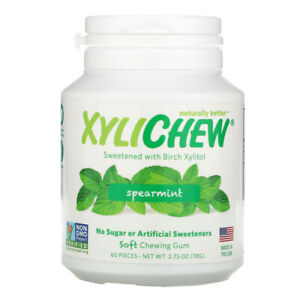 XYLICHEW NATURAL SPEARMINT CHEWING GUM VEGAN KETO BIRCH XYLITOL MINT NON GMO