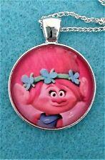 "TROLLS PRINCESS POPPY 1""glass pendant necklace handmade silver plated 16"" chain"