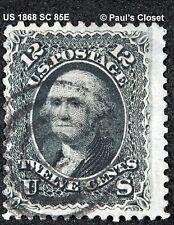 US 1868 SC 85E 12¢ WASHINGTON BLACK Z GRILL CERTIFICATION SCV VERY FINE