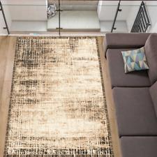 Teppich Modern Stylisch Wohnzimmer Verwaschen Kurzflor Beige Schwarz 5 Größen