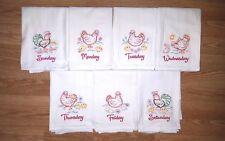 CHICKEN DAYS OF THE WEEK EMBROIDERED FLOUR SACK DISH TOWELS