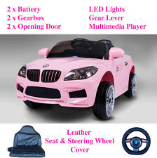 Toys for Girls Electric Ride On Car BMW Leather Seat 12V Battery 2 Motors Remote