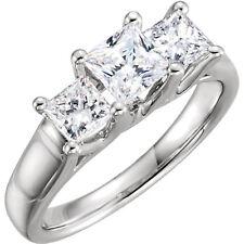 3 Stone Princess cut Diamond Engagement Wedding Ring 14k Gold 2.02 tcw