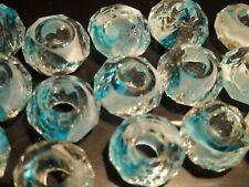 5 Charms para Pulsera Europea de cristal AZUL CLARO abalorios bisuteria