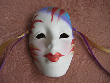 Clay Art Mask Ceramic Mardi Gras Mime Woman's Face Hand Painted