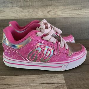 Heelys 770326 Pink Glitter Roller Skate Shoes Sneakers Youth Size 1