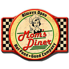 """""""Mom's Diner"""" 35cm x 45cm Metal Novelty Wall Sign For the Kitchen / Dining Room"""