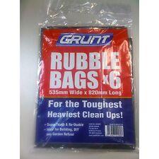 Grunt Rubble Bags 535x820mm 6Pcs Super Tough, Reusable Black*Australian Brand