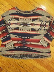 Polo Ralph Lauren Aztec Southwestern Indian Tribal Navajo Pullover Sweater L