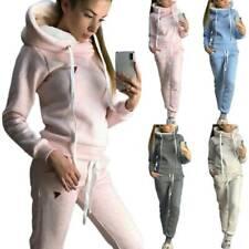 Damen Fleece Hausanzug Trainingsanzug Kapuze Hoodie Hose Jogginganzug Sportanzug