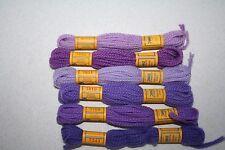Floralia 6 Purples DMC Persian Wool 3 Strand Divisible 5.4 yards Lot
