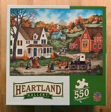 """Dinner at Grandmas"" 550 Piece Jigsaw Puzzle Country Home Horses Fall Pumpkins"