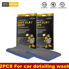 2pcs Microfiber Clay Mitt Clay Bar Glove Car Care Detailing Cleaning Wash Towel